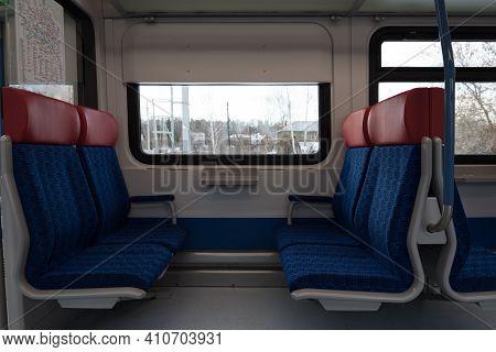 Empty Train Carriage. Modern New Railroad Car. The Concept Of The Absence Of Tourists, Quarantine