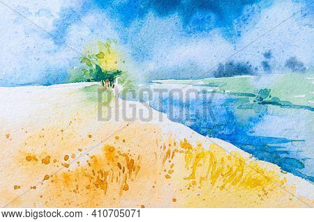 Simple Watercolour Image Of Sky, River, Yellow Paddy Field And A Tree, Indian Watercolour Art,