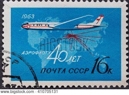 Ussr - Circa 1963: Postage Stamp Tupolev Tu-124 Jetliner Printed In Ussr. Series: 40th Anniversary O