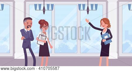 Commercial Real Estate Sale Broker, Female Leasing Agent Showing Property. Woman In Negotiations Bet