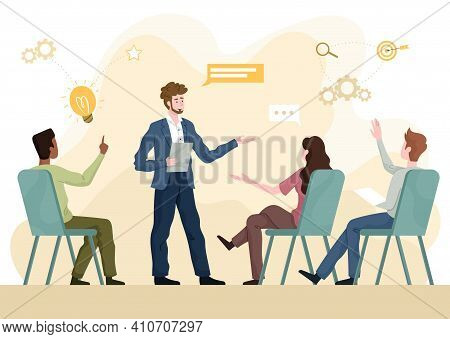 Skilled Or Motivational Coach Lecturing To Diverse Multiracial Students Or Businesspeople In A Face