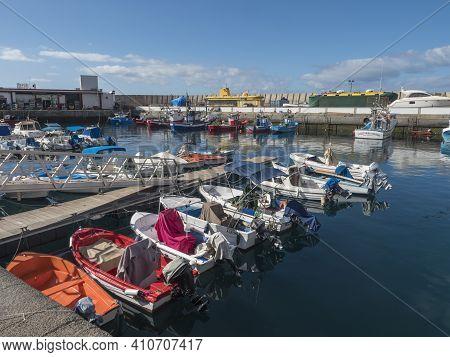 Puerto De Mogan, Gran Canaria, Canary Islands, Spain December 18, 2020: Marina With Fishing Boats An