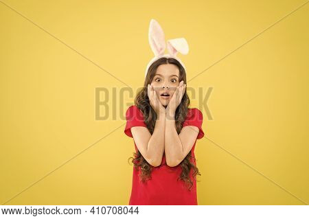 Happy Childhood. Surprised Kid Celebrate Easter Holiday. Spring Holiday Tradition. Schoolgirl Have F