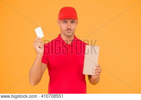 Big Sale And Discount. Delivery Man Hold Discount Card And Box. Parcel Service. Shopping With Price