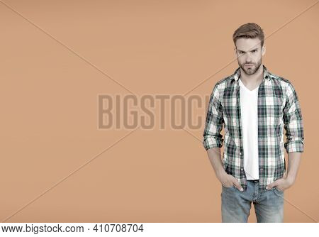 Make You Look Good. Copy Space. Casual Fashion For Men. Masculine Outfits And Look. Stylish Male In