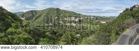 Panoramic View Over Green Hill And Valley Of Botanical Garden, Jardin Botanico Canario Viera Y Clavi