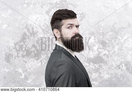 Guy Brutal Fashion Model With Long Beard And Mustache. Business People Fashion Style. Facial Hair An