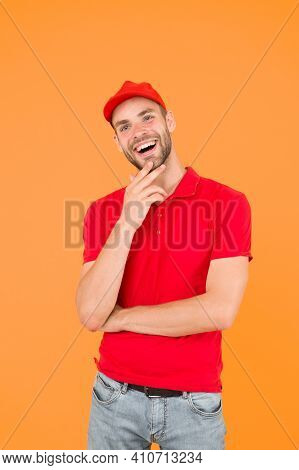 Welcome. Supermarket Cashier. Man Delivery Service Wear Red Cap. Shop Assistant. Food Order Delivery