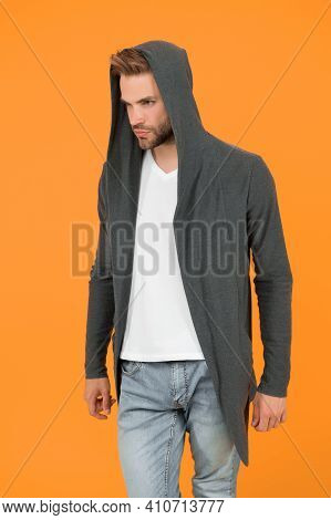 Comfy Garment For Daily Life. Fashion Man Yellow Background. Fashion Look. Handsome Guy Wear Fashion