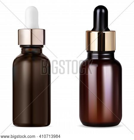 Tincture Bottle. Cosmetic Serum Dropper, Essential Oil Brown Glass Bottle. Apothecary Container Ambe