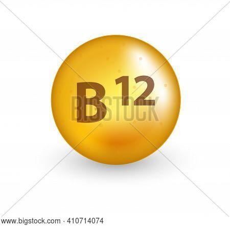Vitamin B12 Capsule Realistic 3d Style. Vitamin Pill. Healthy Lifestyle Vector Concept