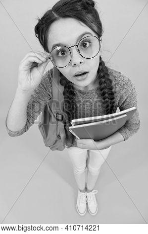 Always Look Smart And Beautiful. Smart Look Of Schoolchild. Little Schoolgirl Wear Eyeglasses. Small