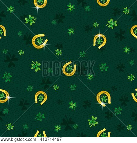 Green Patrick's Day Background With Golden Horseshoe And Clover. Patrick's Day Design. Seamless Patt