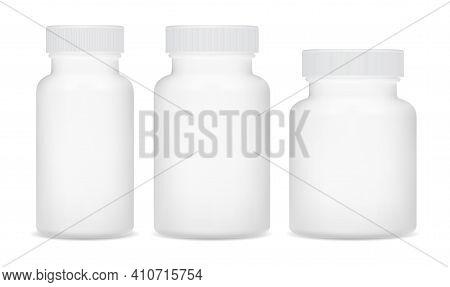 Pill Bottle, White Supplement Package. Plastic Medicine Jar. Drug Capsule Bottle, 3d Vector Containe