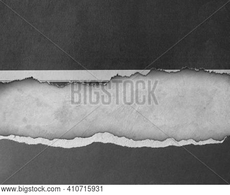 Ripped paper on grey background, space for copy