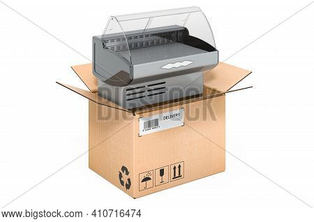 Showcase, Display Cabinet Vitrine Inside Cardboard Box, Delivery Concept. 3d Rendering Isolated On W