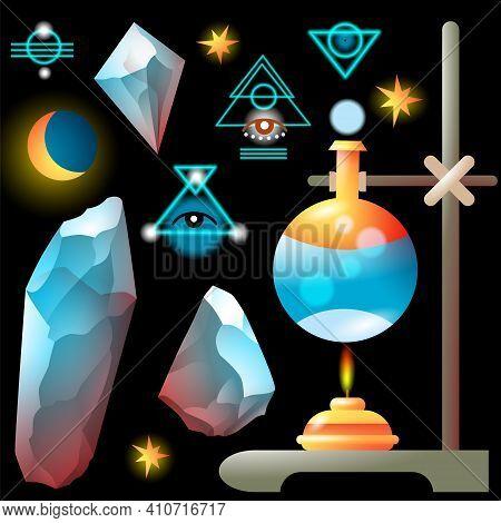 Set Of Magic Objects - Glass Flask, Spirit Lamp, Crystals, Stars, Symbols. Detailed Vector Illustrat