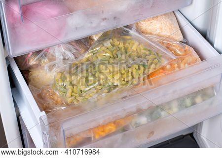 Frozen Vegetables In A Bag In The Freezer. Frozen Green Beans, Frozen Food