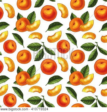 Seamless Pattern Design With Hand Drawn Illustration Of Peach Slices, Whole Peaches And Leaves