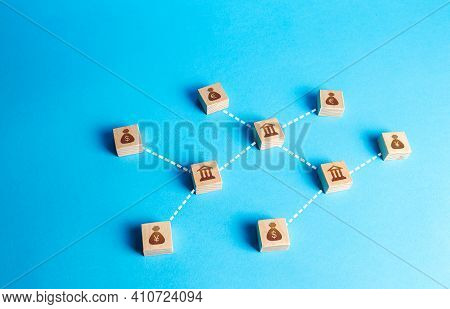 Banks And Money Blocks Connected In A Network Of Lines. Financial System. Cash Flows, Lending, Inves
