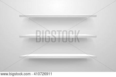 White Shelf Mockup. Empty Shelves Template. Realistic Bookshelf Design. Home Interior Elements On A