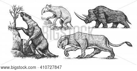 Woolly Rhinoceros Cave Lion. Ground Sloth, Megatheriidae. Palorchestes Or Marsupials Of The Family P