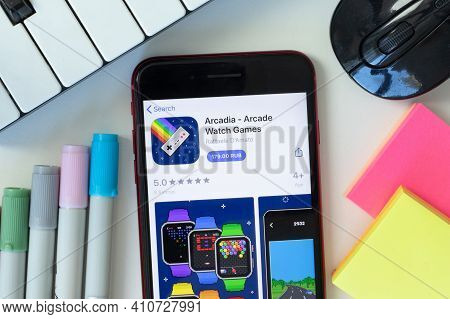 New York, Usa - 2 March 2021: Arcadia - Arcade Watch Games Mobile App Icon On Phone Screen, Illustra