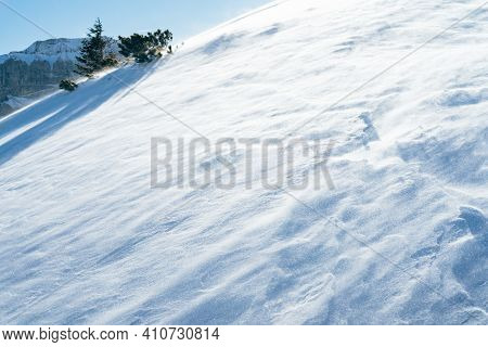 Blowing Snow Over Snowy Surface On Top Of Mountain In Switzerland - Snowstorm