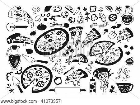 Pizza Cartoon Black Glyph Set Monochrome Vector