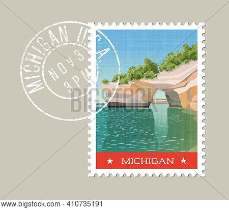 Michigan Postage Stamp Design. Vector Illustration Of Sandstone Formations On Lake Superior Shorelin