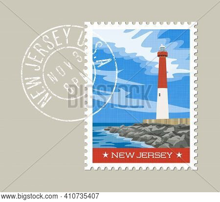 New Jersey  Postage Stamp Design. Vector Illustration Of Historic Lighthouse On The Atlantic Coast.