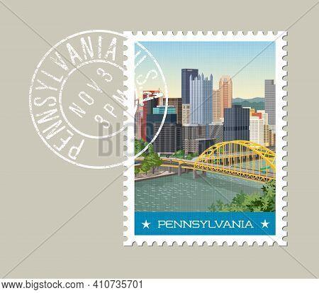 Pennsylvania Postage Stamp Design. Vector Illustration Of Pittsburgh Skyline. Grunge Postmark On Sep