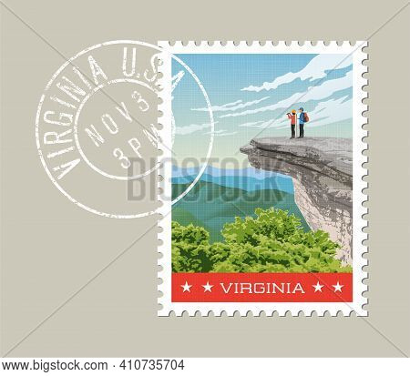Virginia Postage Stamp Design. Vector Illustration Of Hikers On Rock Cliff On Appalachian Trail. Gru