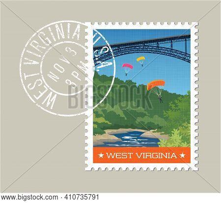 West Virginia Postage Stamp Design. Vector Illustration Of Parachute Jumpers Off Of River Gorge Brid