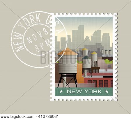 New York Postage Stamp Design. Vector Illustration Of Water Towers On Roof Tops Of Buildings, With S