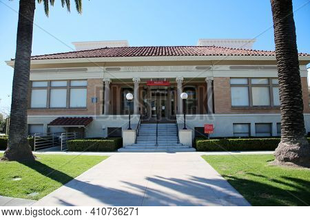 Anaheim, California - USA - March 1, 2021: The Muzeo Museum and Cultural Center in Anaheim California. Editorial Use Only
