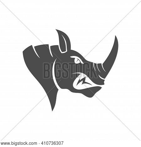 Rhino Head Vector Logo Design Mascot Isolated With Modern Illustration Concept Style For Badge, Embl