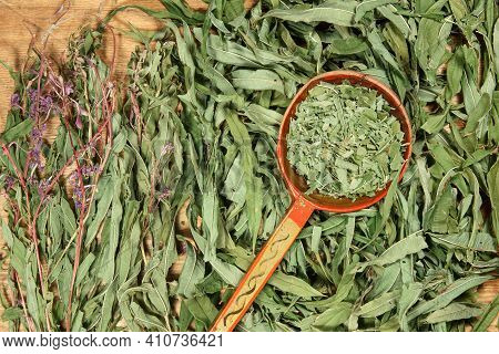 Willow-herb, Epilobium, Fireweed. Dry Herbs For Use In Alternative Medicine, Phytotherapy, Spa Or He