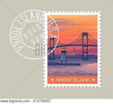 Rhode Island Postage Stamp Design. Vector Illustration Of Newport Bridge And Harbor Lighthouse At Su