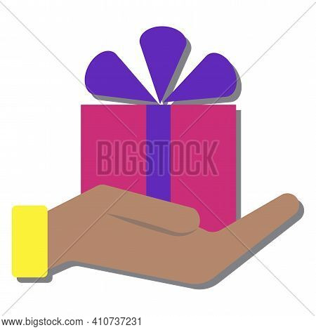Red Gift In Hand. Wrapped Surprise Package. Flat Design Vector. Stock Image. Eps 10.