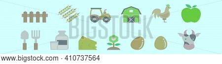 Set Of Farm And Barn Cartoon Icon Design Template With Various Models. Modern Vector Illustration Is