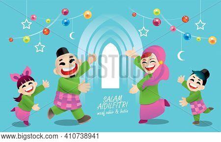 A Muslim Family Celebrating Raya Festival. With Raya Elements And Colorful Background. Translation: