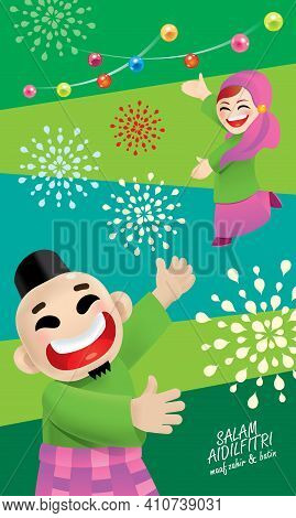 A Muslim Couple Celebrating Raya Festival. With Raya Elements And Colorful Background. Vector. Trans