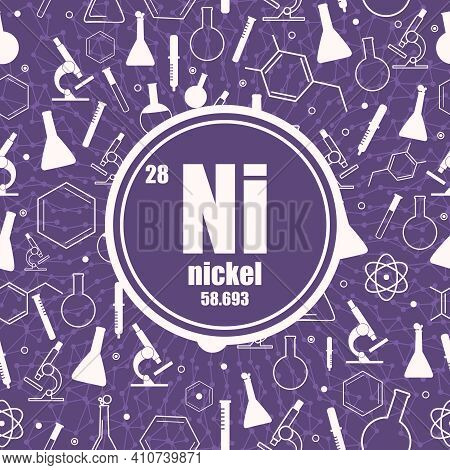 Nickel Chemical Element. Sign With Atomic Number And Atomic Weight. Chemical Element Of Periodic Tab