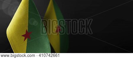 Small National Flags Of The French Guiana On A Dark Background