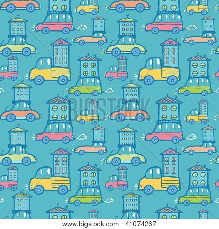 Moving houses on cars seamless pattern background