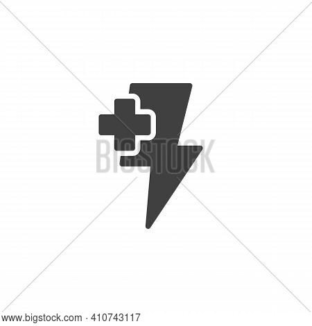 Energy Plus Vector Icon. Filled Flat Sign For Mobile Concept And Web Design. Lightning And Plus Glyp