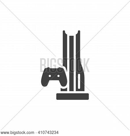 Video Game Console Vector Icon. Filled Flat Sign For Mobile Concept And Web Design. Gamepad And Cons
