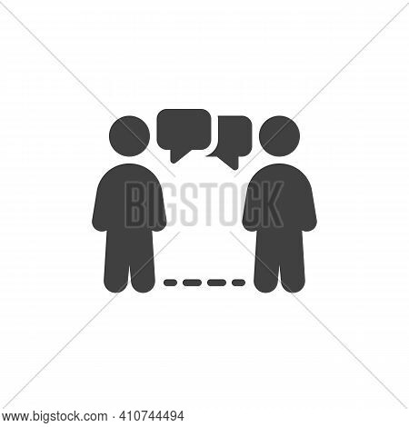 Social Distancing Conversation Vector Icon. Filled Flat Sign For Mobile Concept And Web Design. Peop