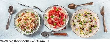 Konjac Pasta Panorama, Shot From The Top. Dishes Of Low-calorie Pasta With Various Toppings